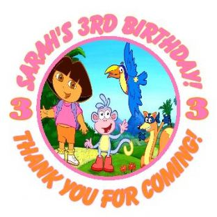 Personalised Dora the Explorer Party Stickers